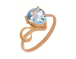 Золотое кольцо с топазами 1к-115 фотография