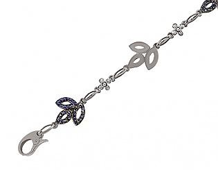 Золотой браслет с сапфиром и бриллиантами 2б-027 фотография
