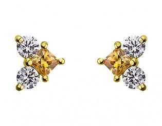 Золоті сережки з фіанітом і цирконієм куб. 3б_с-079 фотографія