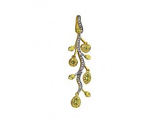 Золотой кулон с перидотами и циркониями и фианитами 9б_п-075 фотография