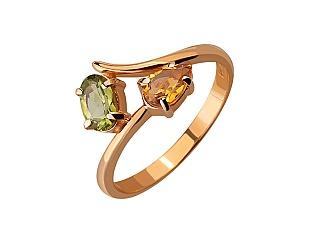Золотое кольцо с хризолитами и цитринами 1-к-526 фотография