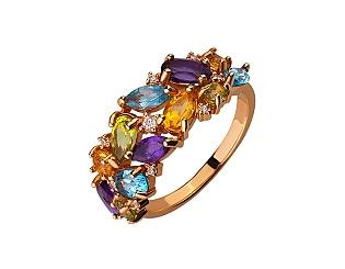 Золота каблучка з топазом і аметистом і цитрином і хризолітом 01-17466938 фотографія