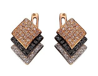 Золоті сережки з цирконієм куб. 01-17604138 фотографія