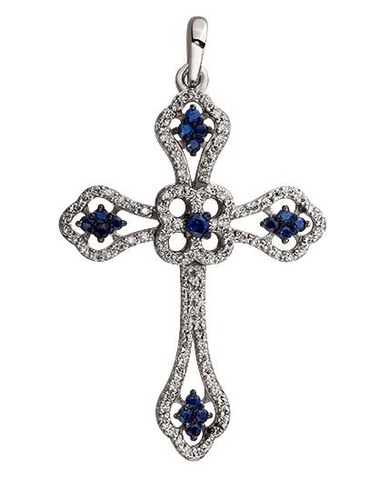 Золотой крестик 585 пробы с бриллиантами и сапфирами (15-000073138)