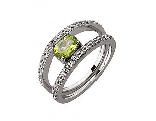Золотое кольцо с хризолитом и цирконием куб. 2к-269 фотография