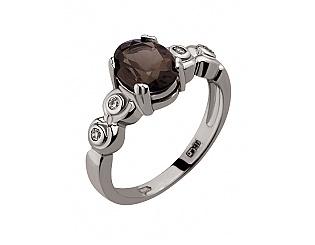 Золотое кольцо с кварцами и циркониями 2к-172 фотография