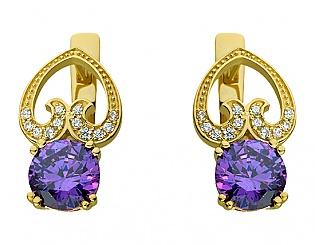 Золоті сережки з цирконієм куб. і фіанітами 3б_с-098 фотографія