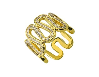 Золота каблучка з цирконієм куб. 01-17642539 фотографія