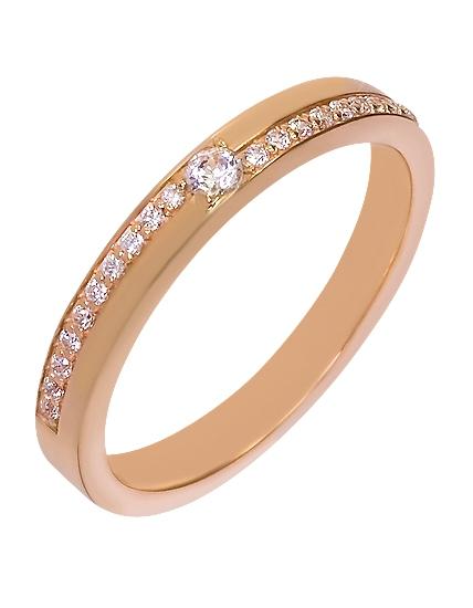 """Золотое обручальное кольцо 585 пробы с фианитами (15-000044095) """"Ювелирная карта"""""""