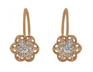 Золоті сережки з цирконієм куб. 1-с-886 фотографія