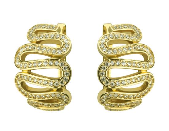 Золоті сережки з цирконієм куб. 01-17642540 фотографія
