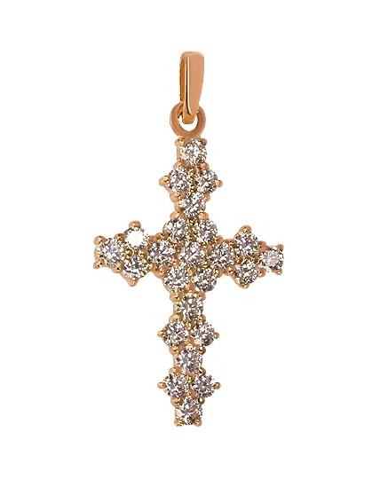 Золотой крестик 585 пробы c фианитами (15-000055640)