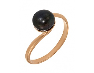 Золота каблучка з перлиною 1-к-54 фотографія