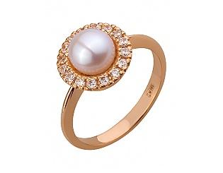 Золотое кольцо с цирконием куб. и жемчугом 1б_к-115 фотография