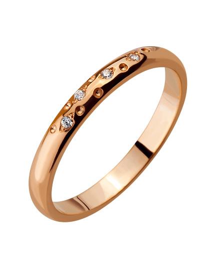 """Золотое обручальное кольцо 585 пробы с фианитами (15-000086443) """"Ювелирная карта"""""""