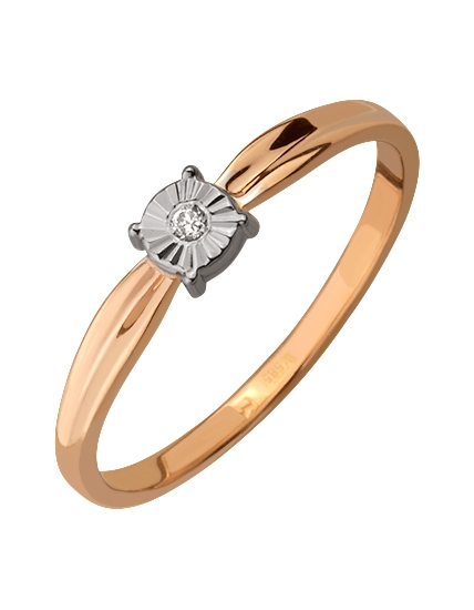 кольцо с черным бриллиантом из белого золота