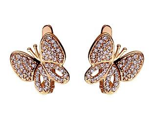 Золоті сережки з фіанітами 01-17420442 фотографія