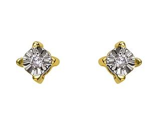 Золоті сережки з діамантом 01-17578942 фотографія