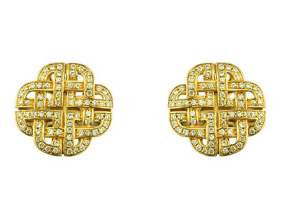 Золоті запонки з діамантами 01-17620842 фотографія