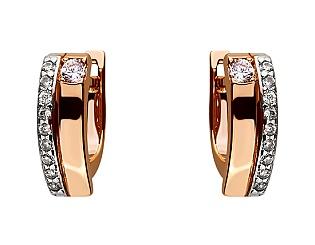 Золоті сережки з цирконієм куб. 01-17656442 фотографія