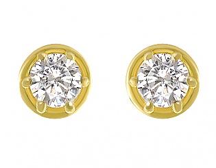 Золоті сережки з фіанітами 3-с-694 фотографія