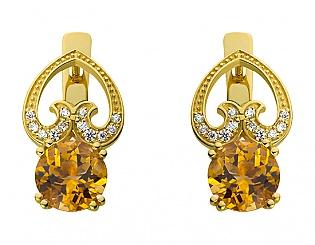 Золотые серьги с фианитами и цитринами 3б_с-098 фотография