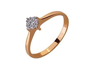 Золота каблучка з діамантами 01-17578943 фотографія