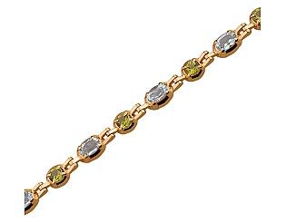 Золотой браслет с хризолитом и топазом 1б-026 фотография