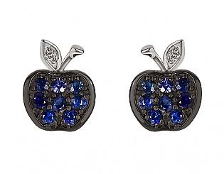 Золоті сережки з діамантами і сапфірами 11с-151 фотографія