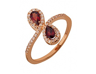 Золотое кольцо с гранатами и фианитами 1б_к-101 фотография