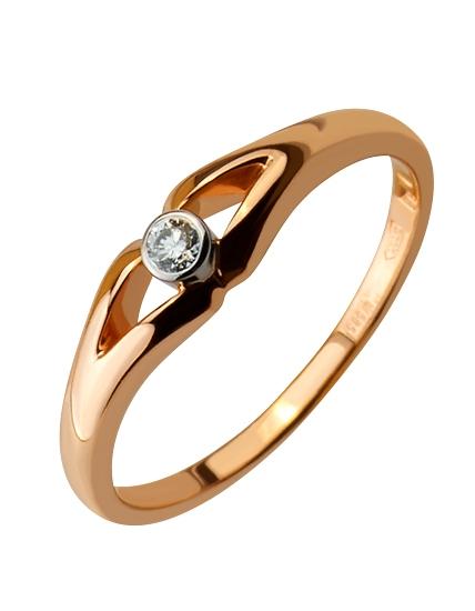 """Золотое кольцо 585 пробы с бриллиантом (01-16637644) """"Ювелирная карта"""""""