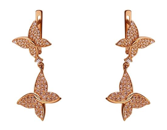 Золоті сережки з фіанітами 01-17445844 фотографія