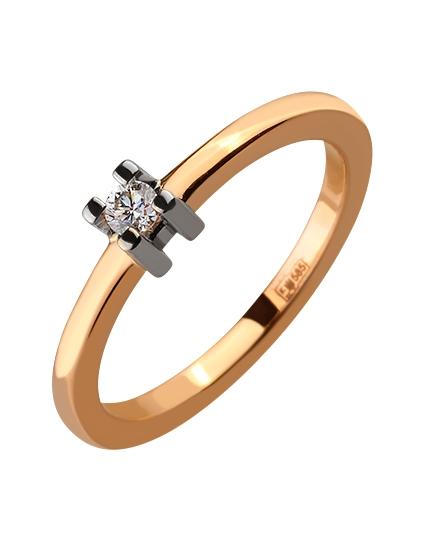 Золота каблучка з діамантом 01-17586544 фотографія 1