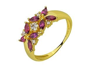 Золота каблучка з діамантами і гранатами 3б_к-194 фотографія
