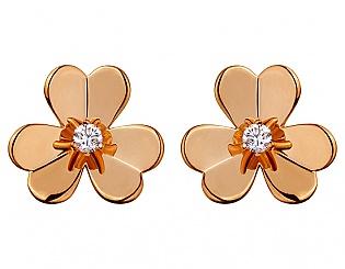 Золоті сережки з діамантом 1б_с-069 фотографія