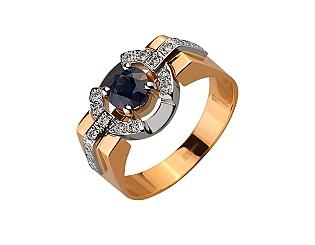 Золота каблучка з діамантами і корундами 01-17593045 фотографія