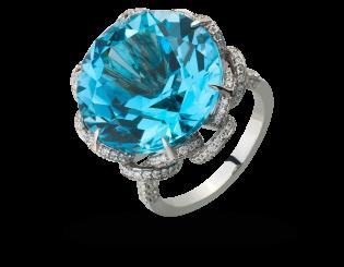 Золотое кольцо с бриллиантами и топазами 2б_к-166 фотография
