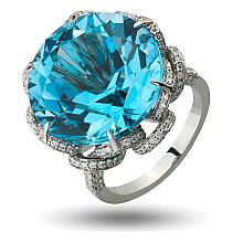 Золотое кольцо с бриллиантами и топазом (2б_к-166)