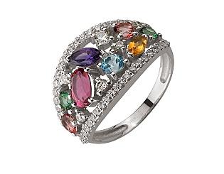 Золотое кольцо с турмалином и аметистом и цитрином и топазами и фианитами 2б_к-167 фотография