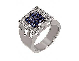 Золотое кольцо с бриллиантами и сапфирами 11б_к-051 фотография