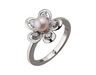 Золотое кольцо с цирконием куб. и жемчугом 2к-094 фотография