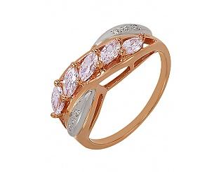 Золотое кольцо с фианитом и цирконием куб. 4к-218 фотография