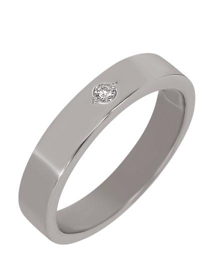 """Золотое обручальное кольцо 585 пробы с бриллиантом (15-000080493) """"Ювелирная карта"""""""