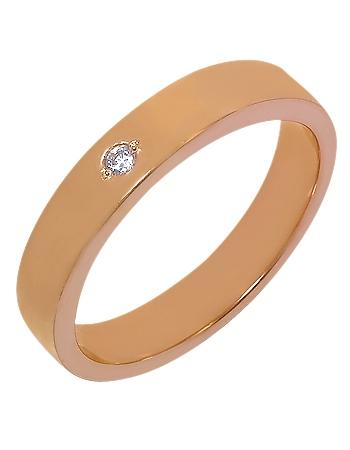 """Золотое обручальное кольцо 585 пробы с фианитом (15-000052468) """"Ювелирная карта"""""""