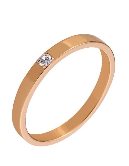 """Золотое обручальное кольцо 585 пробы c фианитом (15-000066271) """"Ювелирная карта"""""""