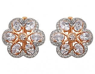 Золоті сережки з фіанітами і цирконієм куб. 8б_с-019 фотографія