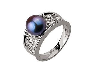 Золотое кольцо с фианитом и цирконием куб. и жемчугом 2б_к-132 фотография