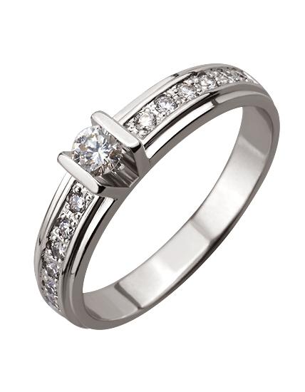 """Золотое кольцо 585 пробы с бриллиантами (01-16670847) """"Ювелирная карта"""""""