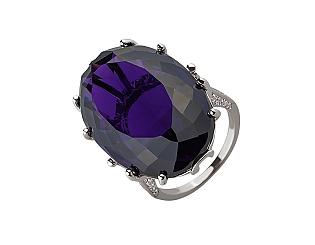 Золотое кольцо с бриллиантами и аметистами 01-17548047 фотография