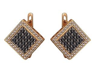 Золоті сережки з цирконієм куб. 01-17642547 фотографія